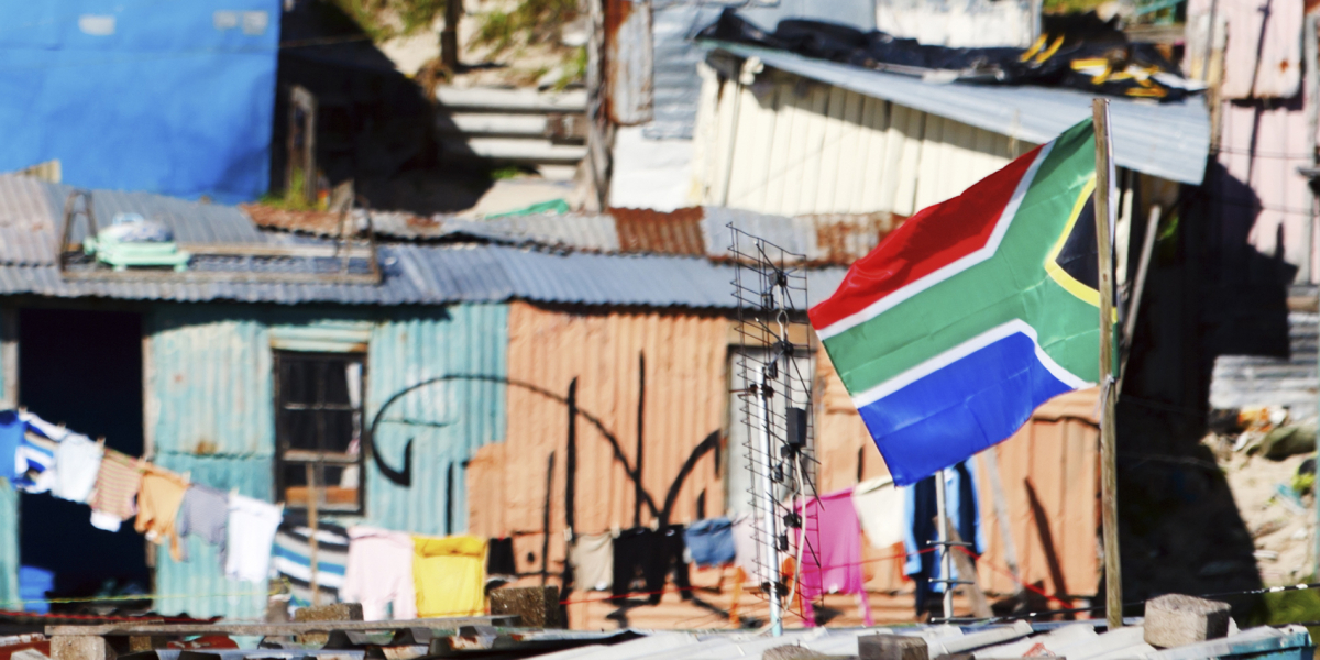 South Africa flag flying in informal settlement