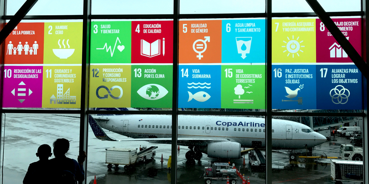 SDGs in Spanish at airport