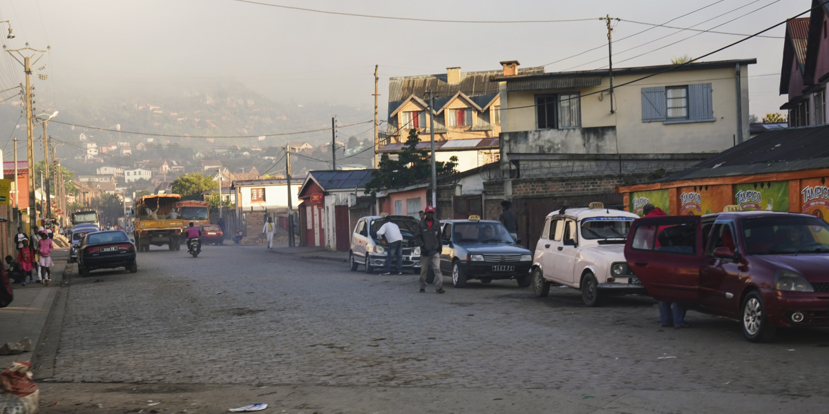 Morning scene Madagascar - haze in distance over houses.  Credit:Lubo Ivanko, iStock
