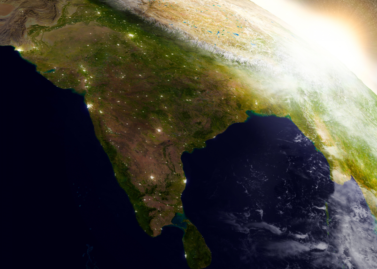 India from space during sunrise